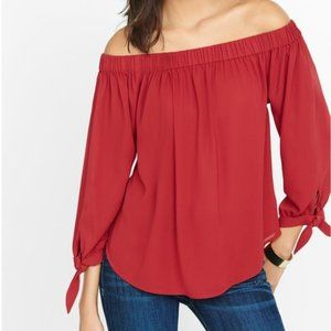 Express Off the Shoulder Red Bow Sleeve Blouse